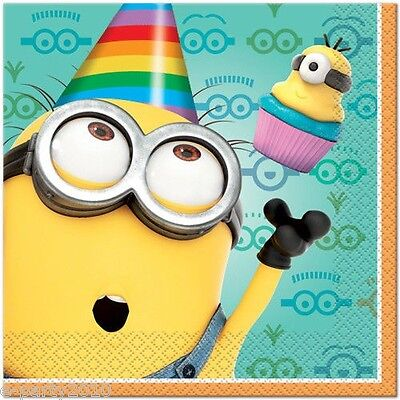 DESPICABLE ME 2 LUNCH NAPKINS (16) ~ Birthday Party Supplies Minions Large ()