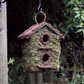 Bush Wood Two Storey Wild Bird House Garden Nesting Box Rustic Wooden Bark Small Birds £6