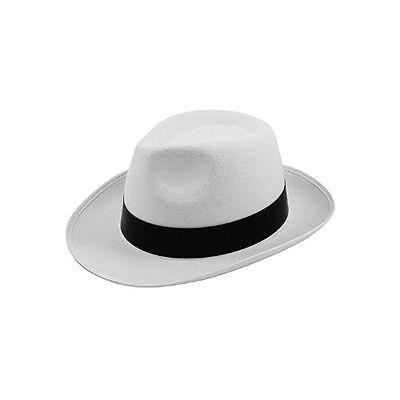WHITE GANGSTER HAT WITH BLACK AL CAPONE MOB MICHAEL JACKSON FANCY DRESS - Black And White Michael Jackson Kostüm