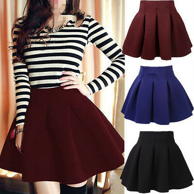 Women Cotton Vintage Stretch High Waist Plain Skater Flared Pleated Skirt EW