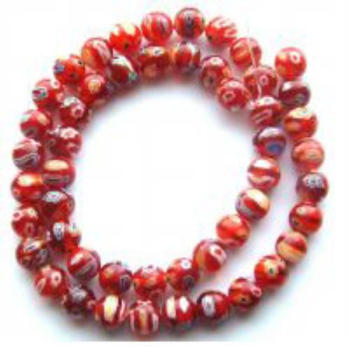 M10-8mm Millefiori Lampwork Beads, Red Many Flower