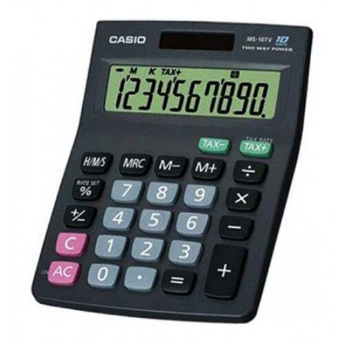 Casio MS-10TV-w Electronic Calculator EXTRA BIG 8-Digit LCD Time/Tax Calculation