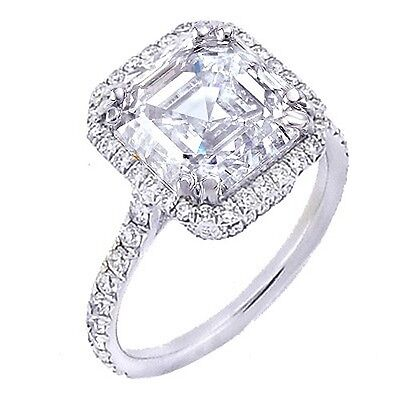2.94 Ct. U-Pave Asscher Cut Halo 18K Gold Diamond Engagement Ring G,VS1 GIA