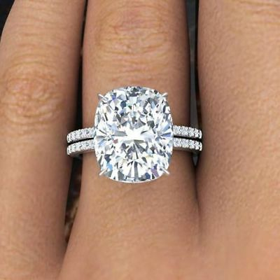 3.35 Ct Cushion Cut Diamond Engagement Ring Round Pave H,VS2 GIA Platinum 7