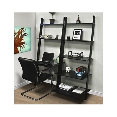(Leaning Shelf Bookcase Computer Desk Office Furniture Home Desk Solid Wood Black)