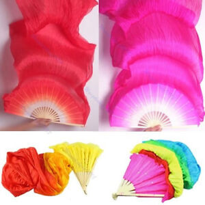 Hand-Made-Colorful-Belly-Dance-Dancing-Silk-Bamboo-Long-Fans-Veils-4-Colors
