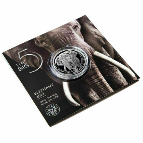 ELEPHANT - SOUTH AFRICA BIG FIVE 2019 5 Rand 1 oz BU Silver Coin in Blistercard.