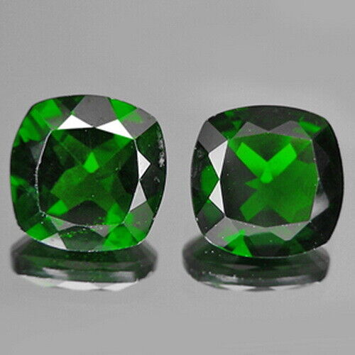 3.79cts 8mm Cushion Pair Chrome Green Natural Diopside Loose Genuine Gemstones