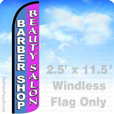Barber Shop Beauty Salon - Windless Swooper Feather Flag 2.5x11.5 Banner Sign Pz