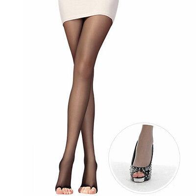 Women Open Toe Sheer Ultra-Thin Tights Pantyhose Stocking Black Grey Nude Coffee