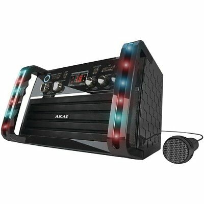 (PORTABLE AKAI CD+G PLAYER KARAOKE MACHINE SYSTEM with COLOR LED LIGHTS KS-212)