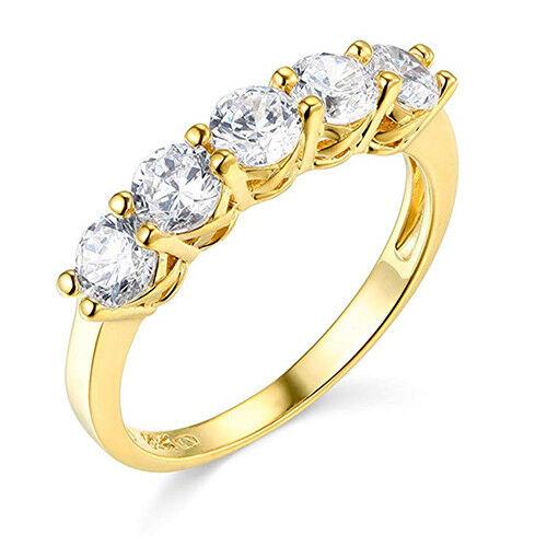 2 Ct Round Solid 14k Yellow Gold 5-Stone Trellis Wedding Anniversary Band Ring