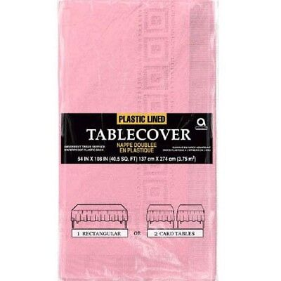 LIGHT PINK PLASTIC-LINED PAPER TABLE COVER ~ Party Supplies Birthday Cloth Baby