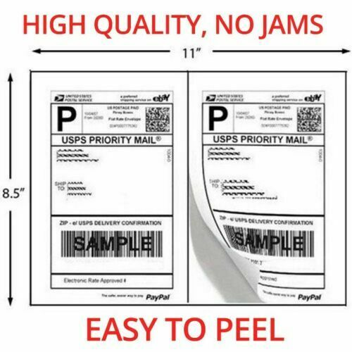 1000 Shipping Labels 8.5x5.5 Half Sheets Self Adhesive 2 Per Sheet - $24.99