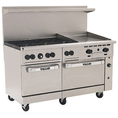 Vulcan Endurance Natural Gas Range 60w 6 Burners 2 Ovens 24 Manual Griddle