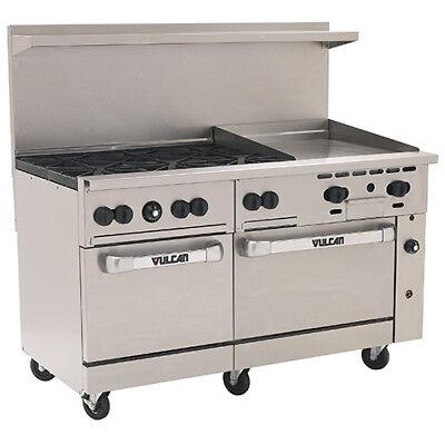 Vulcan Endurance Natural Gas Range 60w 6 Burners 2 Ovens 24 Manual Griddle
