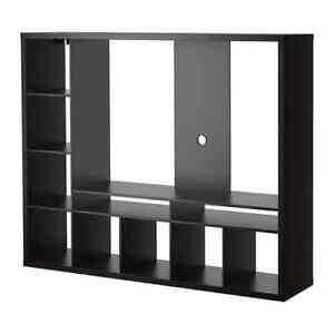 Ikea LAPPLAND TV storage unit in black-brown + 4 DRONE boxes