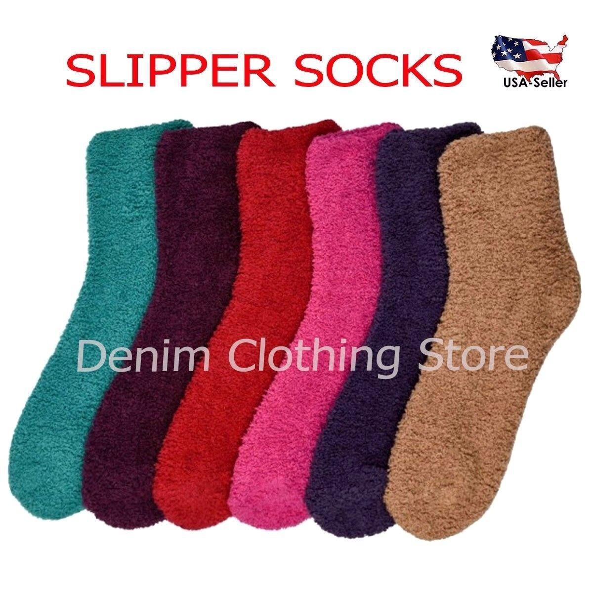 6 PAIRS WOMEN WARM WINTER SLIPPER CREW SOCKS SOFT COZY FUZZY