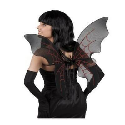 FLÜGEL DARKNESS schwarze Flügel mit glitzer Halloween Fee Elfe Gothic 2855