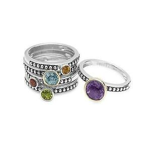New, Set 5 Sterling Silver rings with Semi Precious stones Sz7