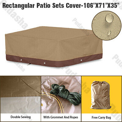 Deluxe Heavy Duty Waterproof Furniture Cover Rectangle Patio Table Chairs GS08P