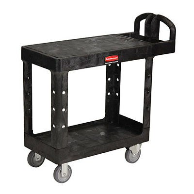 Rubbermaid Fg450500bla Flat Shelf Utility Cart Plastic 37-78wx19-28d Black