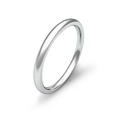 Mens Womens Solid 14K White Gold Plain Wedding Ring Band 2MM Size 7