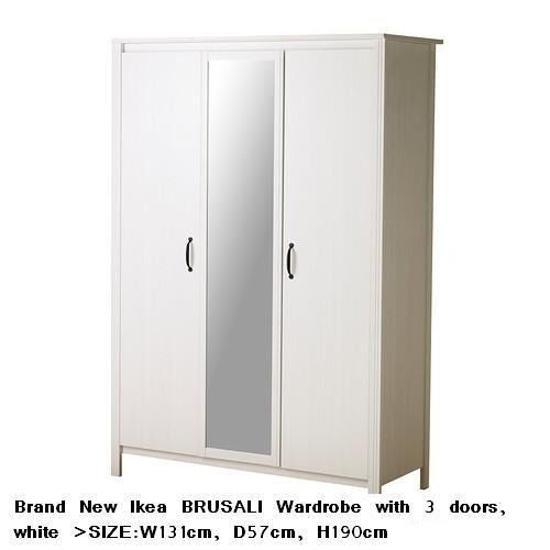 Brand New Ikea BRUSALI Wardrobe With 3 Doors White