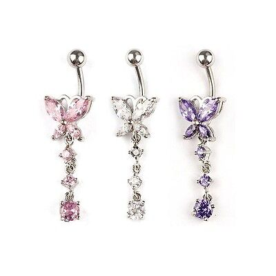 - Rhinestone Butterfly Belly Button Ring Crystal Dangle USA SELLER FAST SHIP