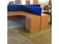 Four Beech L Desks, Pedestals & Dividers
