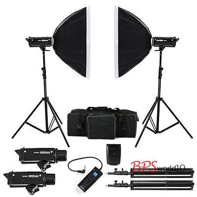 Godox 1200W Photo Photography Studio Strobe Flash Softbox Lighting Kit 2 x 600W