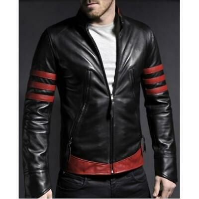 X-Men Origins Wolverine Red Black Leather Jacket, Men's Leather Jacket for sale  Shipping to India