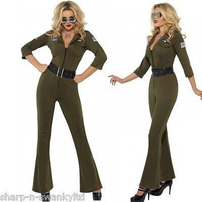 Damen 1980s Jahre Top Gun Armee Aviator Militär Overall Kostüm Kleid - Militär Kostüm Weiblich