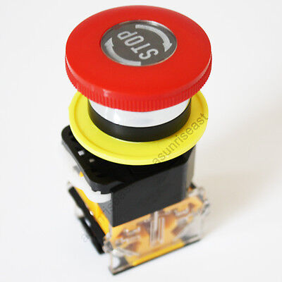 Emergency Stop Switch Push Button Mushroom Pushbutton 22mm 1 No 1 Nc 4 Terminal