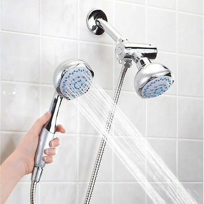 New High Pressure 5 Setting Dual Handheld Shower Head With Divert Mount + Hose