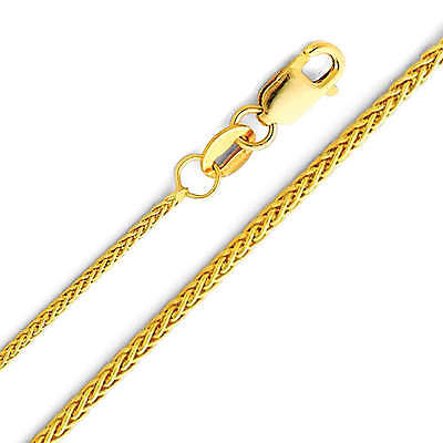 14K Real Yellow Gold 1.1mm Braided Wheat Chain Necklace 16