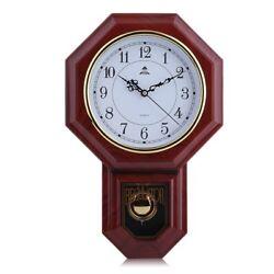 NEW Wall Clock with Pendulum Roman Numerals Chimes Dark Wood Classic EK