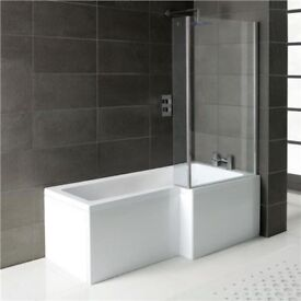 L SHAPE SHOWER BATH +GLASS SHOWER SCREEN +SIDE PANEL- AVAILABLE IN RIGHT HAND SIDE OR LEFT HAND SIDE