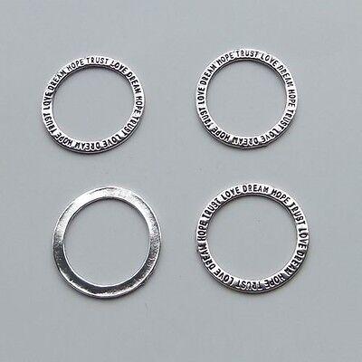 Antiqued Silver Trust Dream Hope Circle Pendant Necklace Charms 30Mm 20Pcs