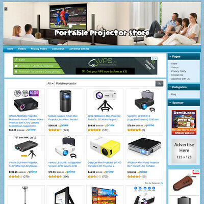 Home Theater Portable Projector Online Business Website For Sale Work At Home