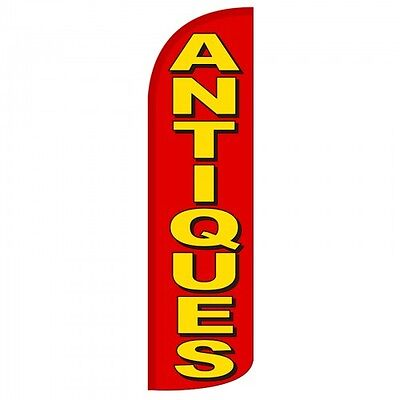Antiques Banner Flag Sign Display Swooper Windless 3 Wide Red Yellow