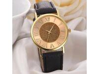 Fashion Women Glitter Leather Band Analog Quartz Wrist Watch