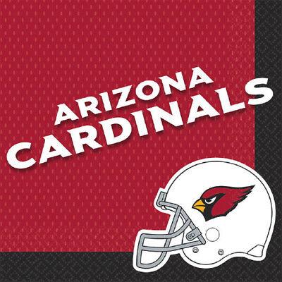 NFL ARIZONA CARDINALS LUNCH NAPKINS (16) ~ Birthday Party Supplies Serviettes (Arizona Cardinals Party Supplies)