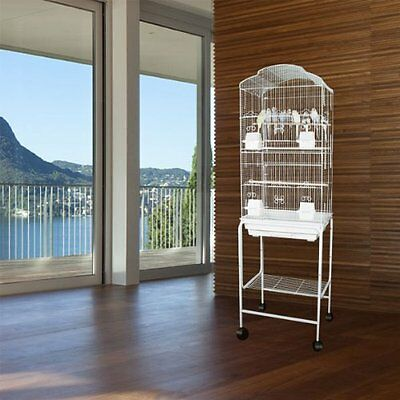 "64"" New Large Canary Parakeet Cockatiel LoveBird Finch Bird Cage White Stand 365"