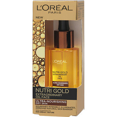 L'OREAL PARIS NUTRI GOLD 30ML Extraordinary Regenerating Face Oil For Dry Skin