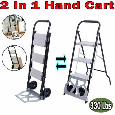 2 In 1 Wonder Trolley Hand Truck Furniture Dolly Step Ladder Wheel Cart