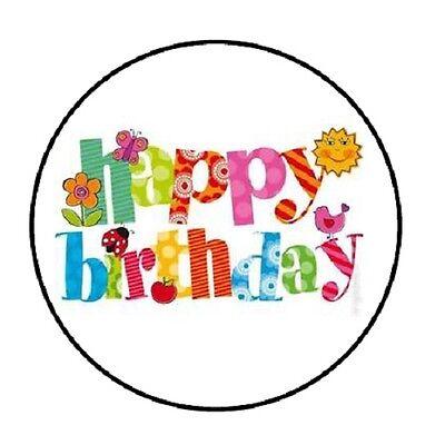 48 Happy Birthday #10!!!  ENVELOPE SEALS LABELS STICKERS 1.2