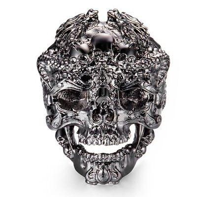MEAN SKULL DRAGON RING ~ MEN'S SIZE 13 ~ STAINLESS STEEL ~ BRAND NEW IN PLASTIC - Plastic Skull Rings