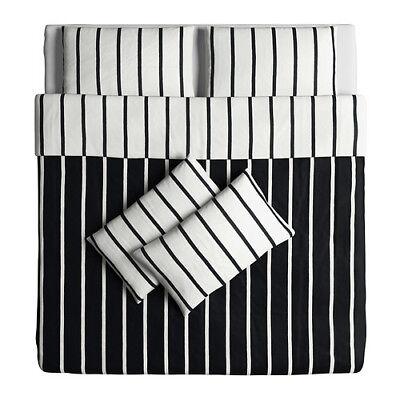 Ikea Tuvbracka Black /& White KING Duvet Cover and 2 x Pillowcase NEW 202.628.21