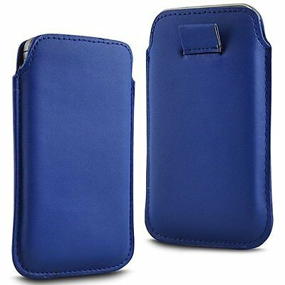For ZTE Kis 3 Max - Blue PU Leather Pull Tab Case Cover Pouch